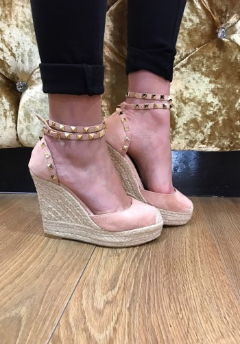 Vogue suedette studded espadrille wedge