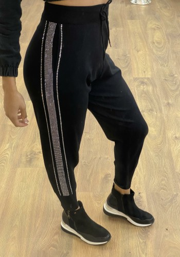 Walker Black Diamante Strip Detailed Joggers