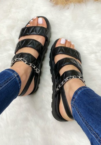Wayde Quilted Chain Chunky Sling Back Flatform Sandals