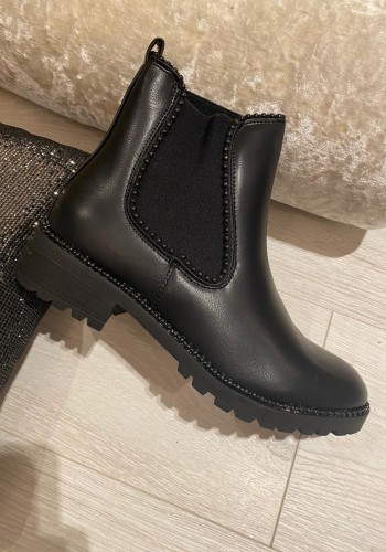 Elliot Faux Leather Black Studded Biker Boots