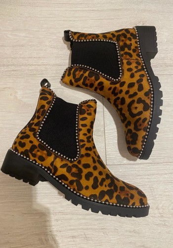 Erin Faux Suede Leopard Print Ankle Boots