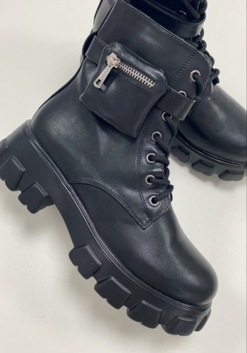 Jonie Black Faux Leather Chucky Strap Detail Biker Boots