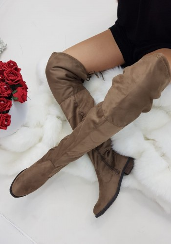 Xandra Suedette Lace Tie Knee High Boots