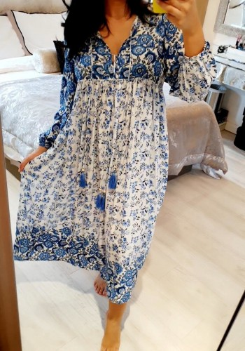 Zacky Tassel Floral Navy Blue Printed Floaty Midi Dress