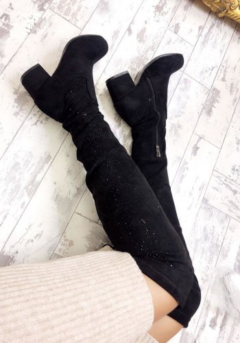 Zofia Faux Suede Crystal Detail Over The Knee Boots