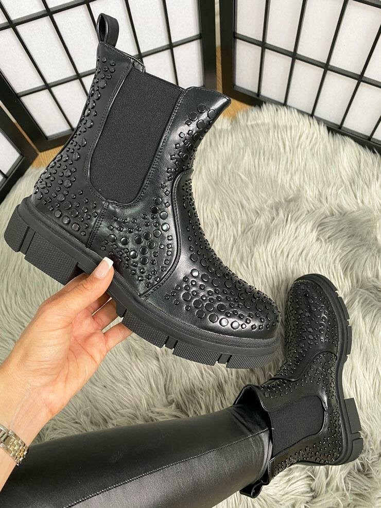 Elico Black Studded Faux Leather Ankle Boots