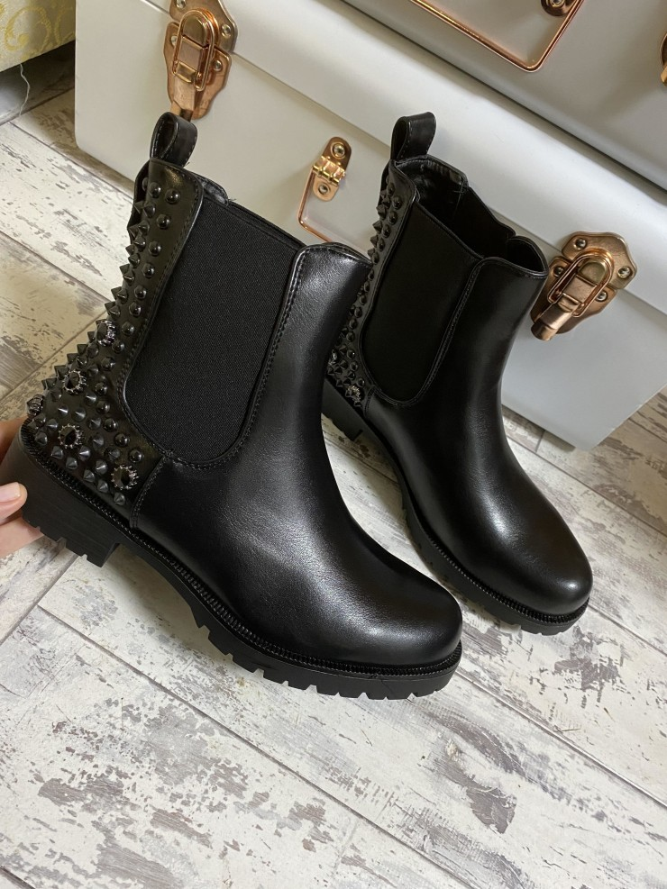 Jayda Studded Back Detail Faux Leather Chelsea Boots