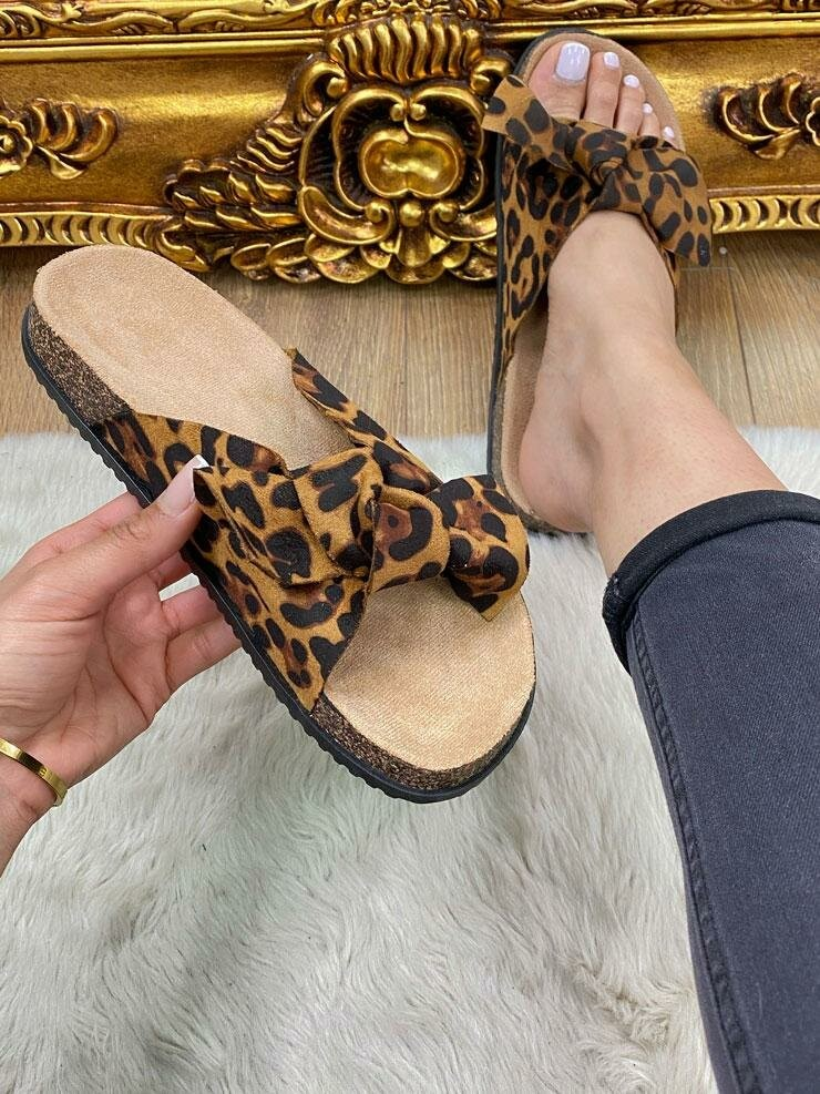 Molly Leopard Print Faux Suede Bow Sliders
