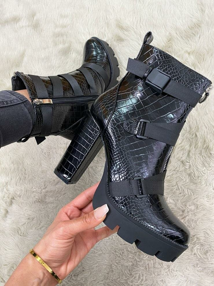 Becky Croc Print Patent Strappy Block Heel Boots