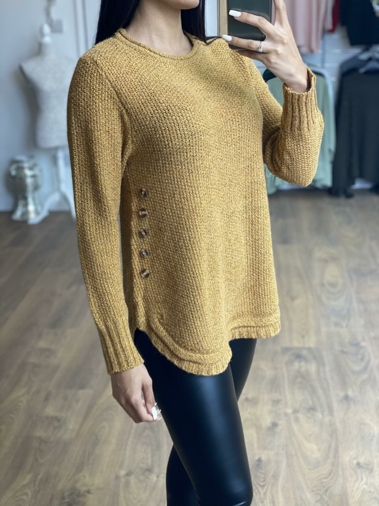 Charmain Button Cable Knit Detail Jumper