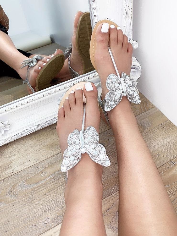 Kandis Butterfly Diamante Detail Sandals