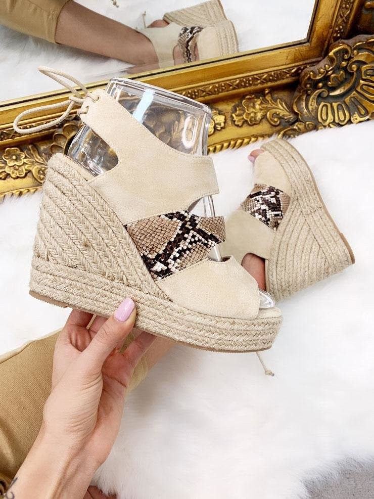 Luella Snake Faux Leather Faux Suede Wedges