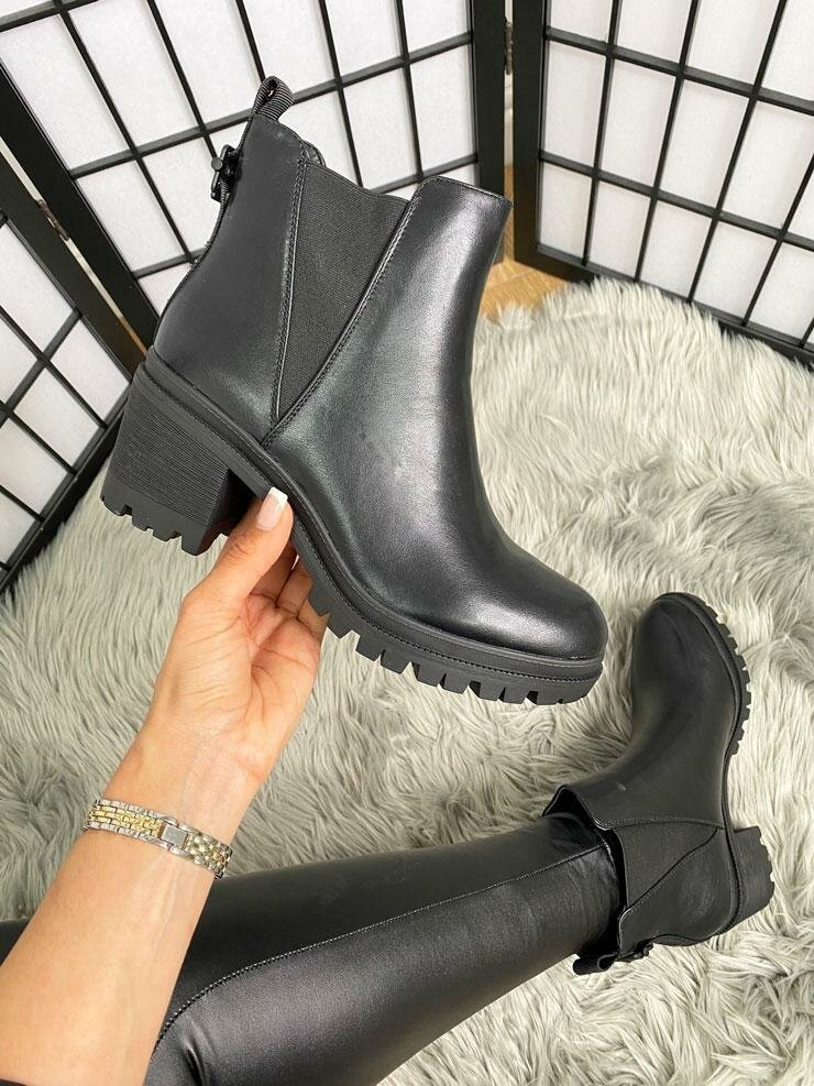 Mirrin Faux Leather Elasticated Chunky Heel Ankle Boots