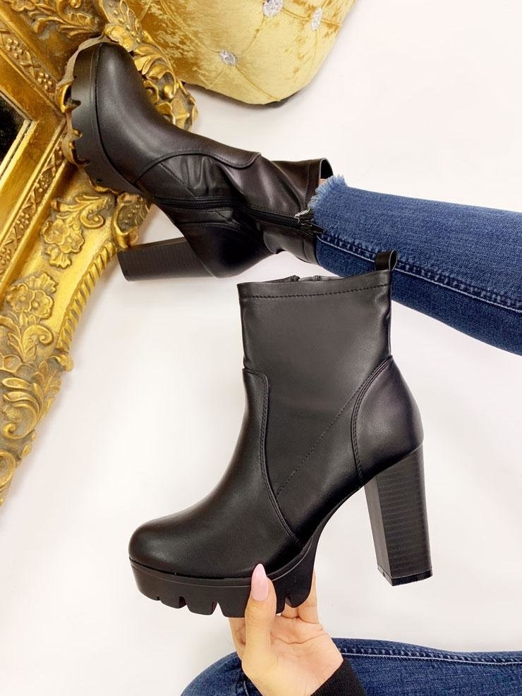 Sims Faux Leather Block Heel Ankle Boots