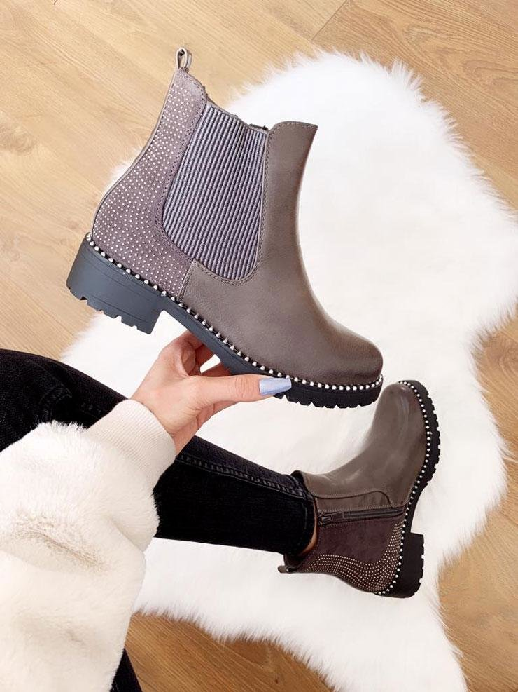 Harris Grey Faux Leather Studded Ankle