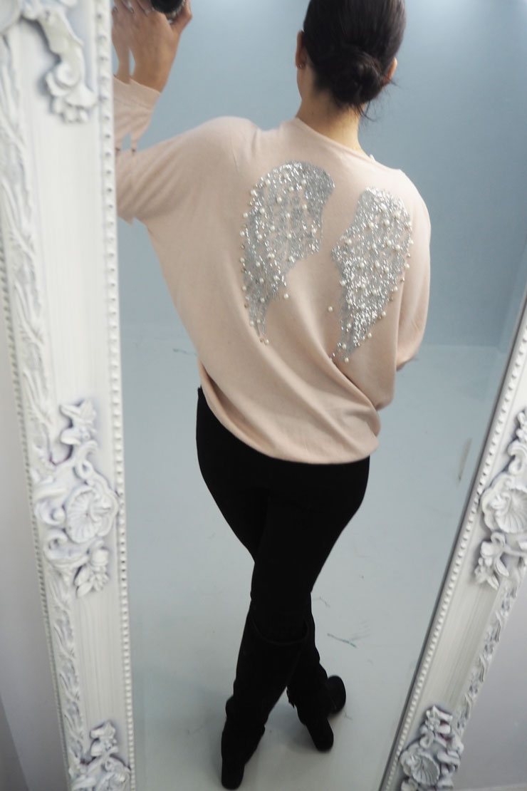 ff3a4a09aecb Layana Diamante Detail Angel Wing Back Jumper
