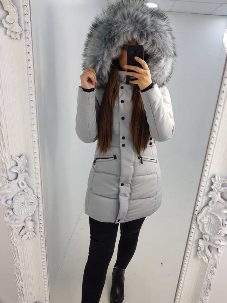Sherry GREY Padded Faux Fur Hooded Coat