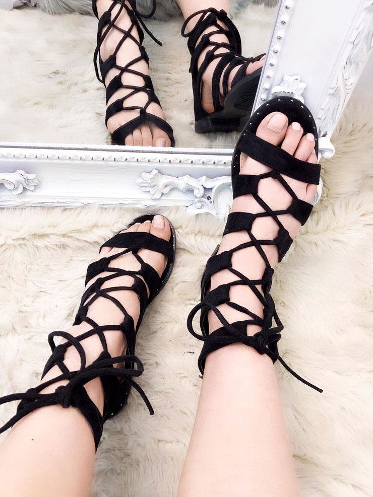 Tarris Faux Suede Lace Up Tie Gladiator