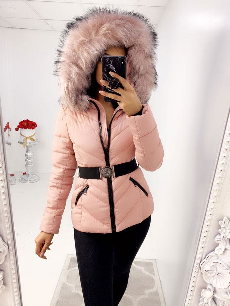 Merlo Pink Faux Fur Speckled Hooded Padded Coat